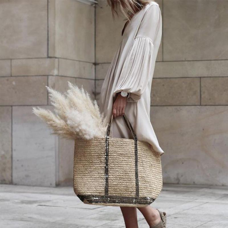 Colabingo: V Neck Pleated Lantern Sleeve Plain Casual Dress