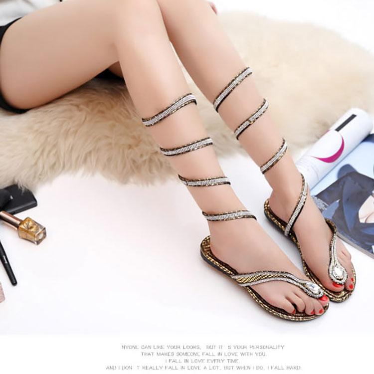 d34faa2ea2259b Sexy Snake-Wound Rhinestone Clip Toe Sandals – PINKSIA
